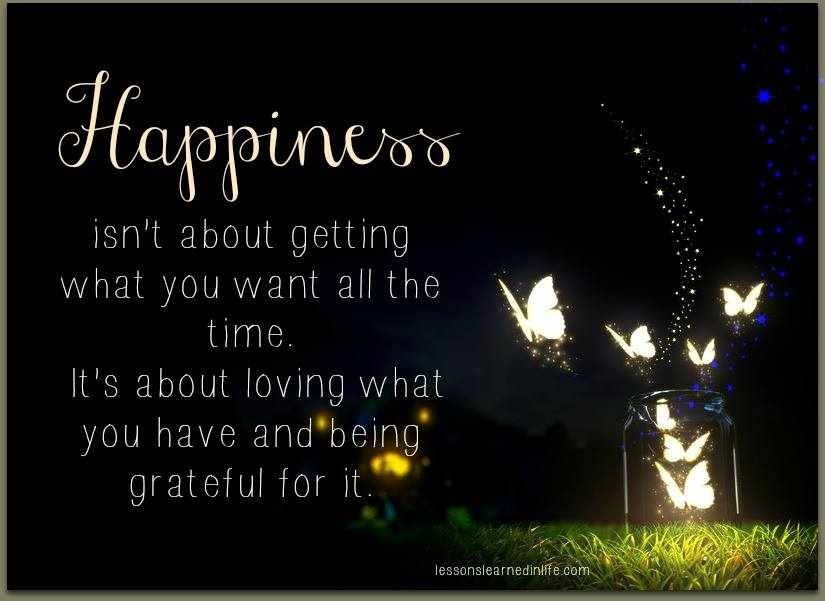Happiness isn't about getting what you want all the time. Its about loving what you have and being grateful for it.