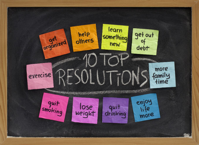 New Years Resolution Ideas: Excercise, get organized, help others. Learn something new, get out of debt. More family time, enjoy life more, quit smoking. Lose weight, quit smoking.