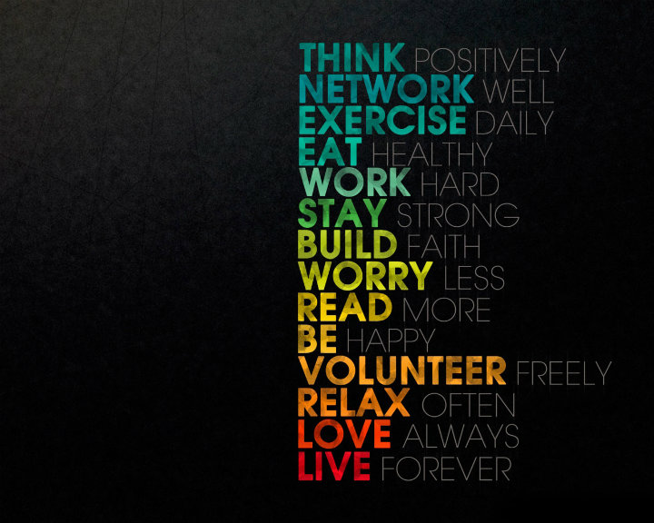 New year resolution quotes: Think positively, notwork well, exercise daily, eat healthy. Work hard, stay strong, build faith, worry less, read more. Be happy, volunteer free, relax often. Love always, live forever!