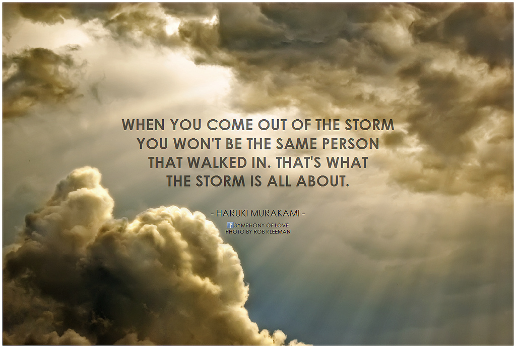 Great life quotes to live by: When you come out of the storm you won't be the same person that walked in. That's what the storm is all about. Haruku Murakami.